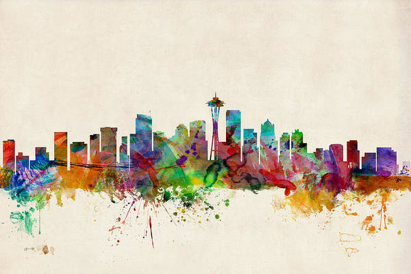 Watercolours Wall Art - Digital Art - Seattle Washington Skyline by Michael Tompsett