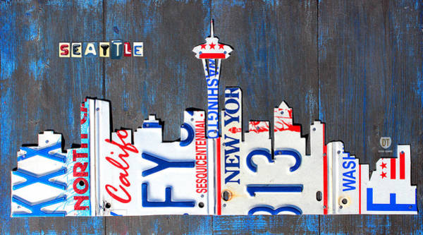 Wall Art - Mixed Media - Seattle Washington Space Needle Skyline License Plate Art By Design Turnpike by Design Turnpike