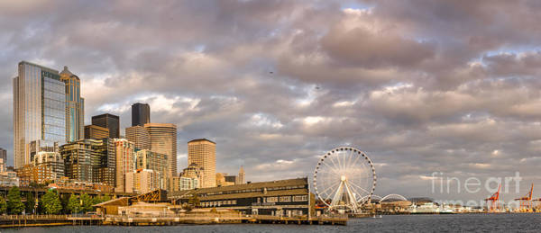 Pier 66 Photograph - Seattle Waterfront Bathed In Golden Hour - Seattle Skyline - Puget Sound Washington State by Silvio Ligutti