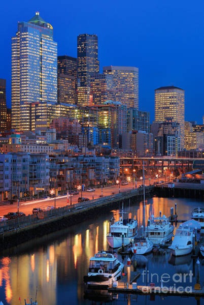 Pikes Place Photograph - Seattle Waterfront By Night by Inge Johnsson