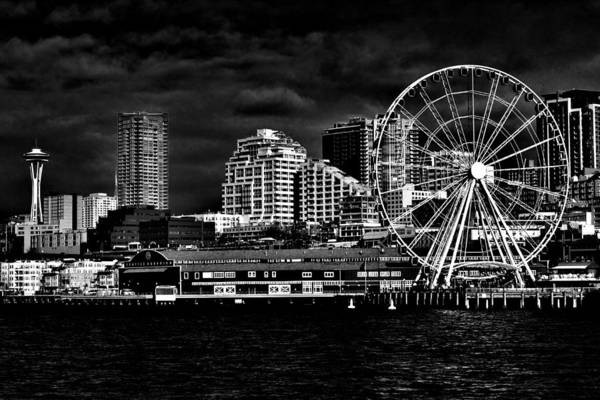 Wall Art - Photograph - Seattle Waterfront In Black And White by Benjamin Yeager