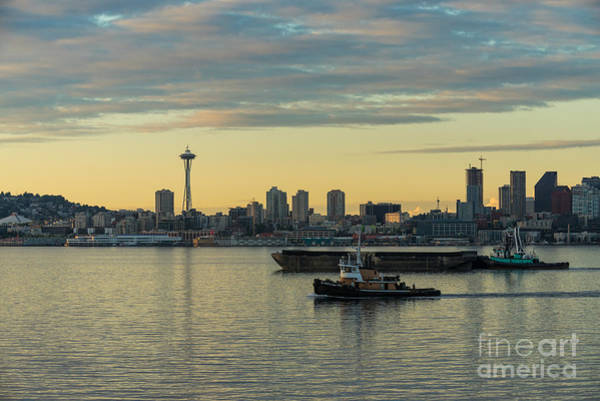 Seattle Skyline Photograph - Seattles Working Harbor by Mike Reid