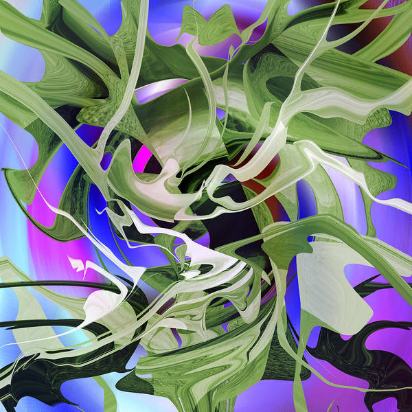 Digital Art - Seaweed - Green by rd Erickson
