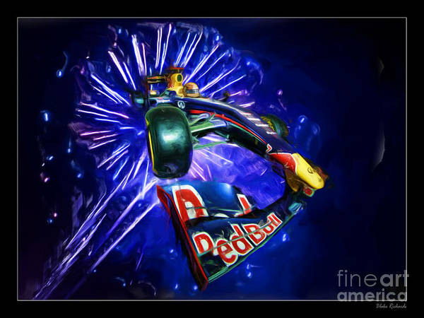 Photograph - Sebastian Vettel Red Bull Fire Works by Blake Richards
