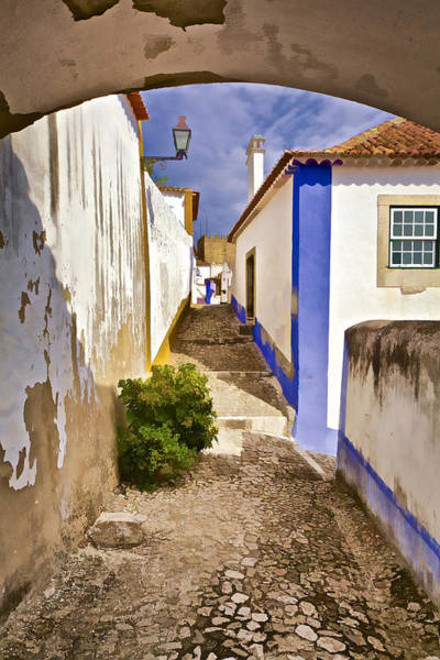 Photograph - Secluded Cobblestone Street In The Medieval Village Of Obidos by David Letts