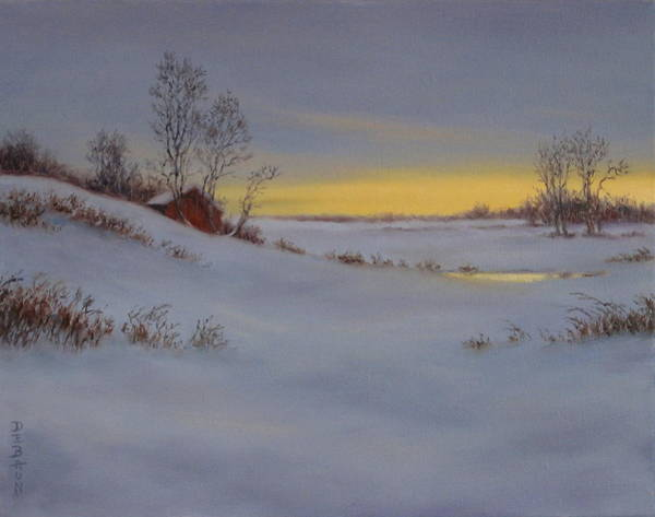 Wall Art - Painting - Secluded Winter Twilight by Barry DeBaun