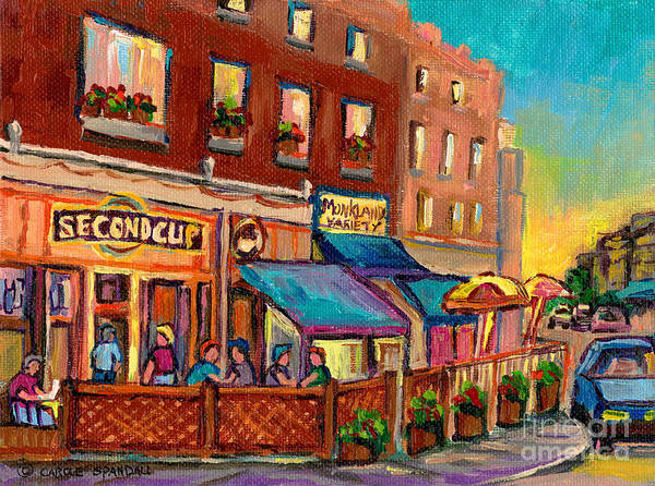 Painting - Second Cup Cafe Terrace Montreal Street Scene by Carole Spandau