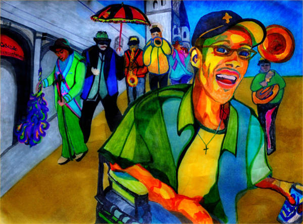 Restaurant Decor Drawing - Second Line Celebration by Jill Jacobs