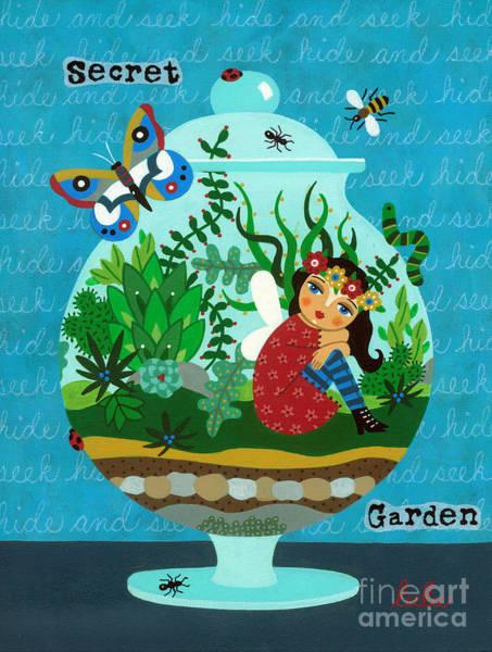 Faerie Painting - Secret Garden Fairy In A Terrarium by LuLu Mypinkturtle