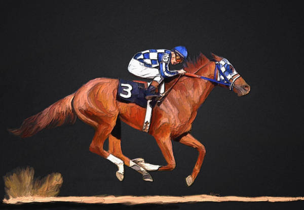 Kentucky Derby Wall Art - Mixed Media - Secretariat And Turcotte by G Cannon