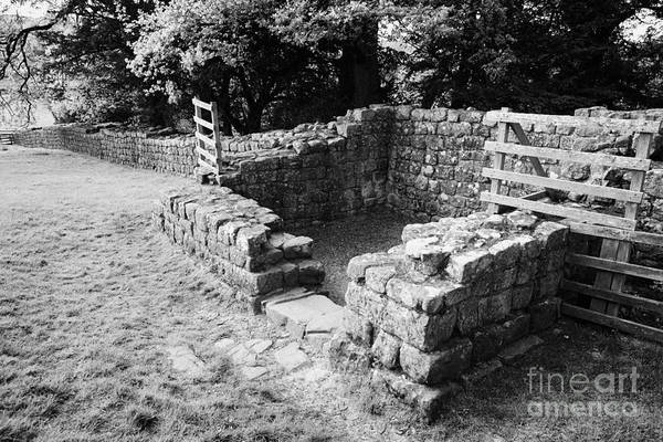 Hadrians Wall Photograph - Section Of Hadrians Wall And Brunton Turret At Low Brunton Northumberland Uk Built By The 20th Legion by Joe Fox