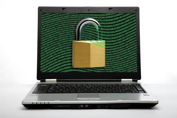 Padlock Photograph - Secure Laptop Computer by Victor De Schwanberg