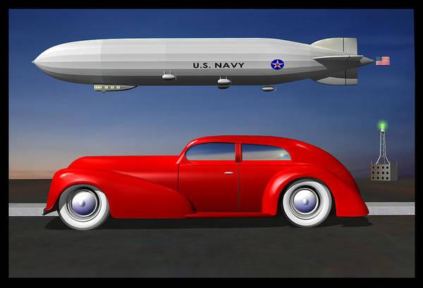 Wall Art - Digital Art - Sedan And Zeppelin by Stuart Swartz