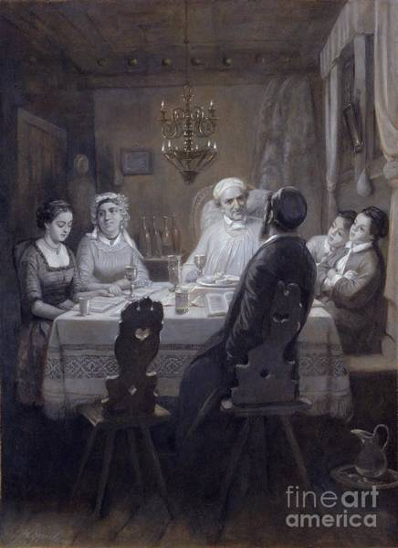 Pilgrimage Painting - Seder - The Passover Meal by Moritz Daniel Oppenheim
