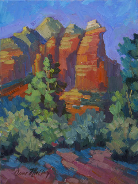 Sonoran Desert Wall Art - Painting - Sedona Coffee Pot Rock by Diane McClary