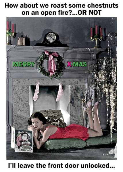 Wall Art - Photograph - The Christmas Seductress Greeting Card by Communique Cards