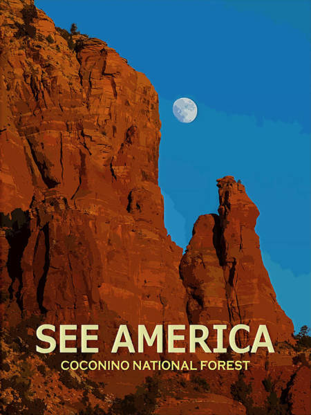 Digital Art - See America - Coconino National Forest by Ed Gleichman