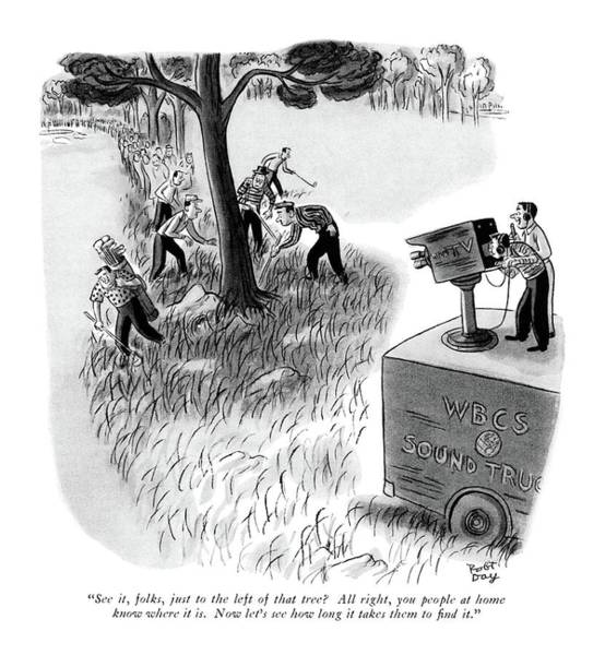 1958 Drawing - See It, Folks, Just To The Left Of That Tree? by Robert J. Day