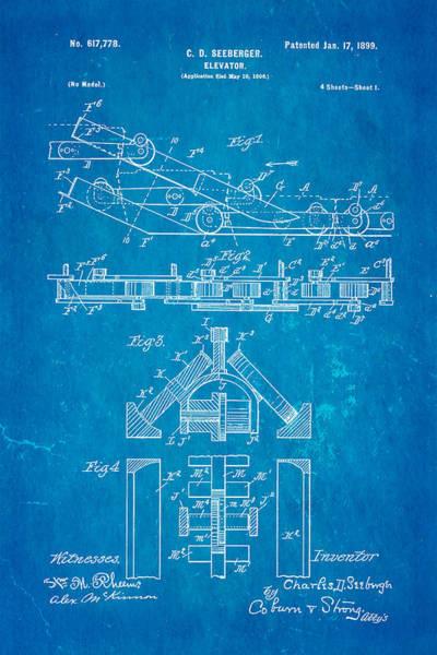 1899 Photograph - Seeberger Escalator Patent Art 1899 Blueprint by Ian Monk