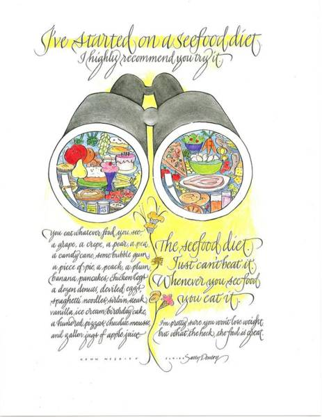 Drawing - Seefood Diet by Sally Penley