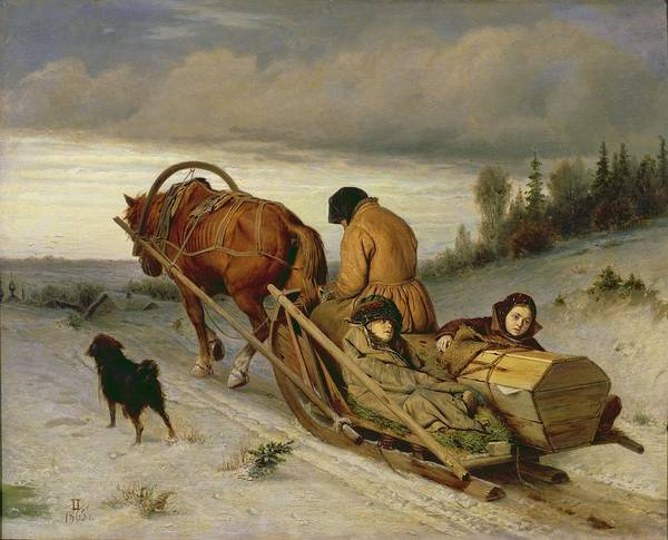 Sledge Wall Art - Photograph - Seeing Off The Dead, 1865 Oil On Canvas by Vasili Grigorevich Perov