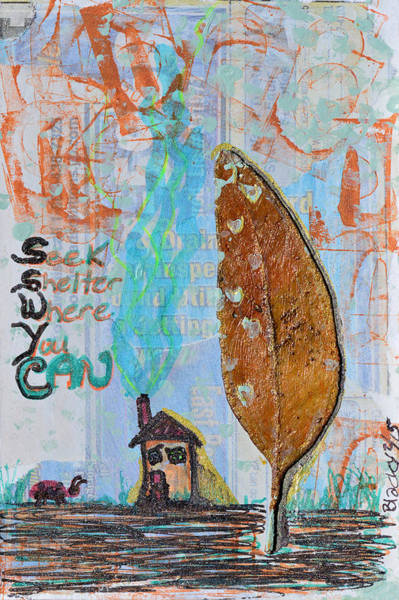 Lady Bug Drawing - Seek Shelter Where You Can by Donna Blackhall
