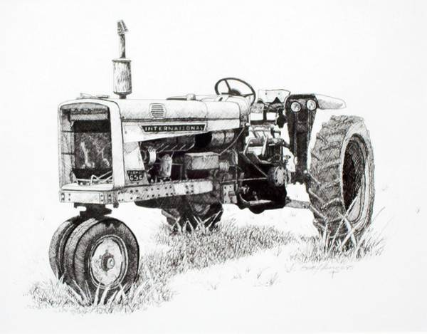 Old Tractor Drawing - Seen Better Days by Scott Alcorn