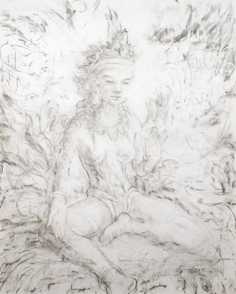 Hindu Goddess Drawing - Seen Green Tara by Geoffrey Haun