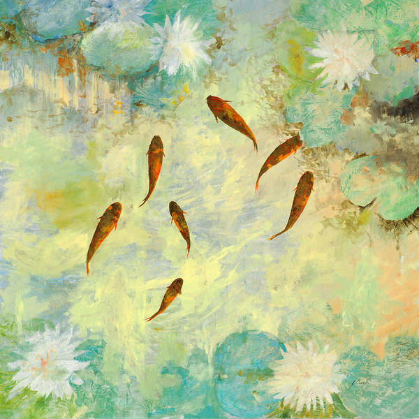 Pond Wall Art - Painting - Sei Pesciolini Verdi by Guido Borelli