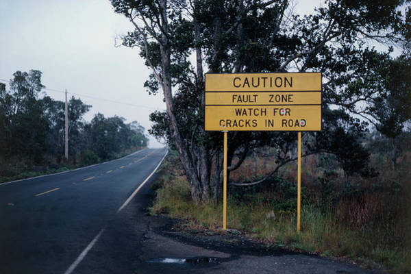 Notice Photograph - Seismic Fault Warning Sign by Robin Scagell/science Photo Library