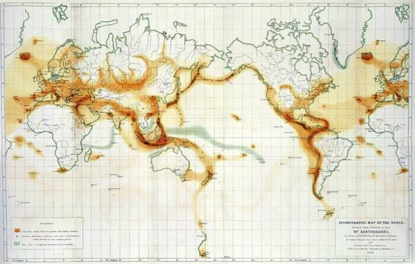 Fire Ring Photograph - Seismographic World Map by Royal Astronomical Society/science Photo Library