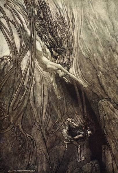 Nymph Drawing - Seize The Despoiler! Rescue The Gold! by Arthur Rackham