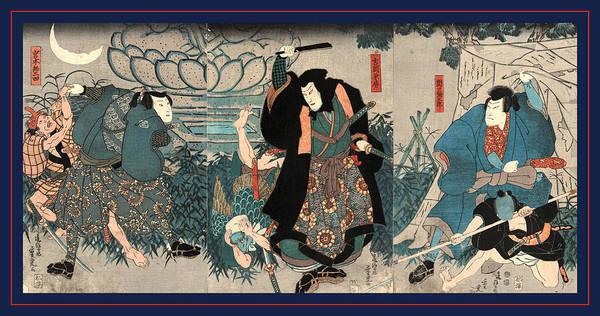 1854 Drawing - Sekiguchi Yataro Yoshioka Kanefusa Miyamoto Musashi by Japanese School