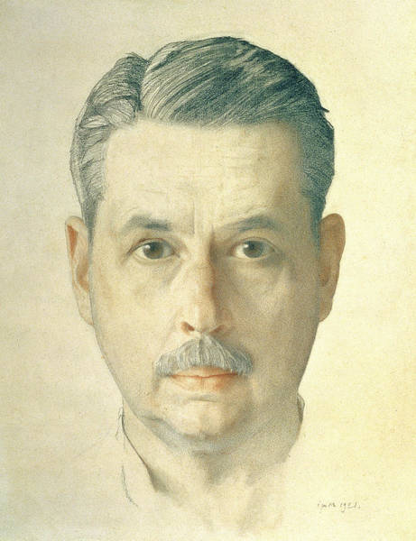 Moustaches Photograph - Self Portrait, 1921 Pencil On Paper by Konstantin Andreevic Somov