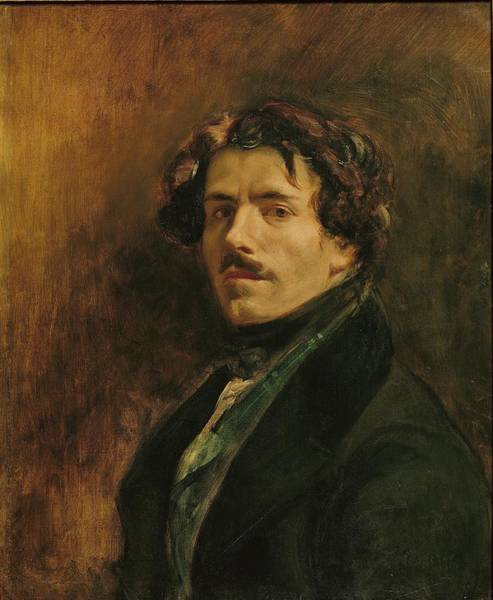 Moustaches Photograph - Self Portrait, C.1837 Oil On Canvas by Ferdinand Victor Eugene Delacroix