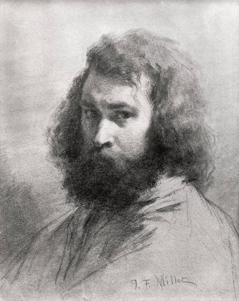 Hairy Photograph - Self Portrait, C.1845-46 Charcoal And Pencil On Paper Bw Photo by Jean-Francois Millet