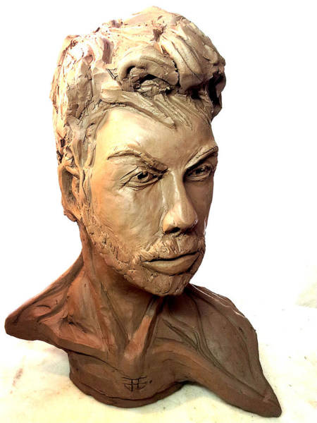 Sculpture - Self Portrait Clay by John Jr Gholson