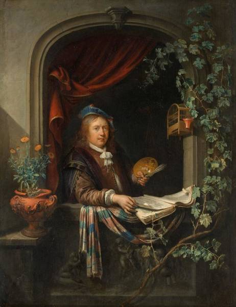 1665 Wall Art - Painting - Self-portrait by Gerard Dou