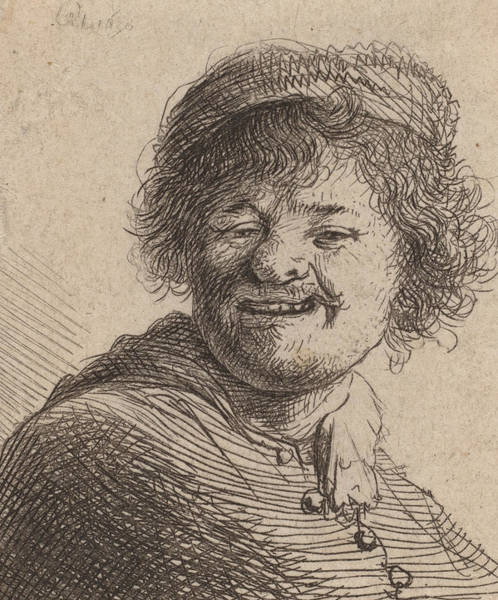 Print Drawing - Self Portrait In A Cap Laughing by Rembrandt