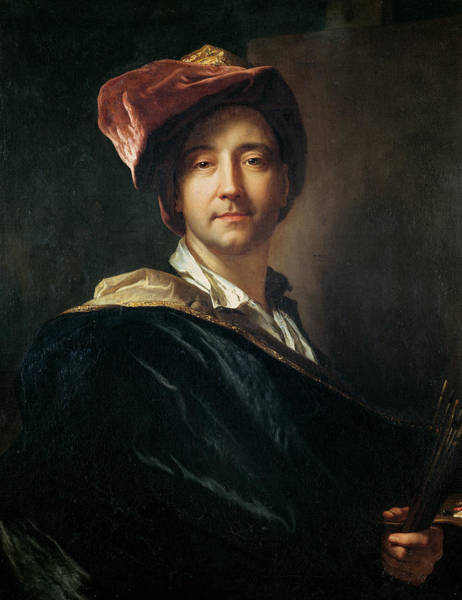 Headdress Photograph - Self Portrait In A Turban, 1700 Oil On Canvas by Hyacinthe Francois Rigaud