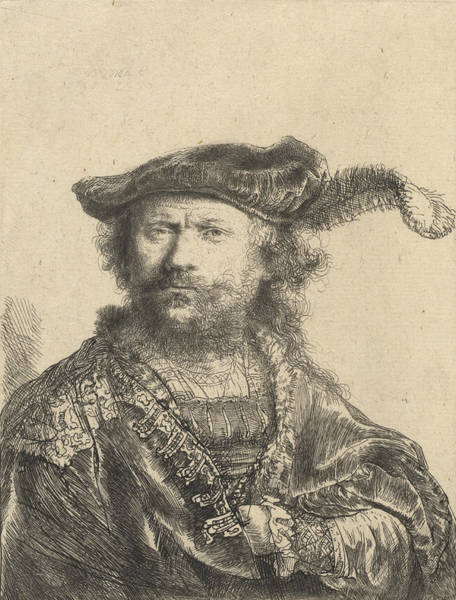 Baroque Drawing - Self Portrait In A Velvet Cap With Plume by Rembrandt
