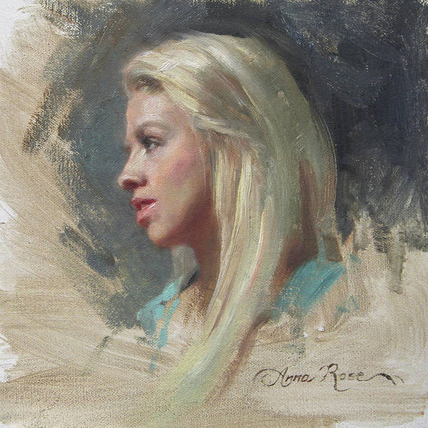 Blonde Painting - Self Portrait In Profile by Anna Rose Bain