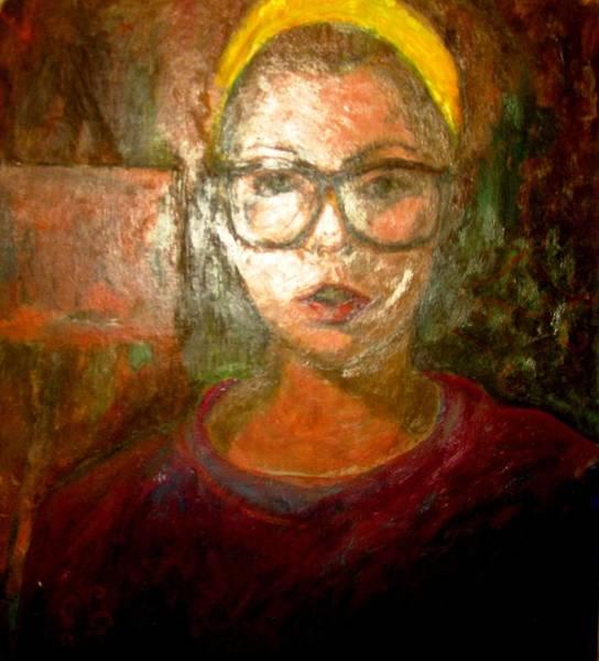 Selfportrait Painting - Self Portrait In Yellow Headband by Anita Dale Livaditis