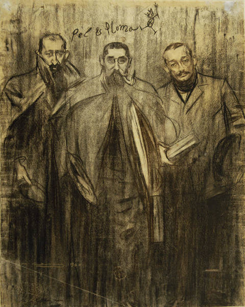 Chestnut Hair Drawing - Self-portrait Of Ramon Casas Between Miquel Utrillo And Leandre Galceran by Ramon Casas