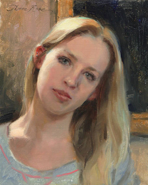 Blonde Painting - Self Portrait On A Saturday by Anna Rose Bain