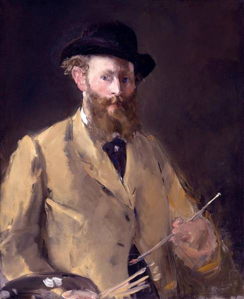 Wall Art - Painting - Self Portrait With A Palette by Edouard Manet