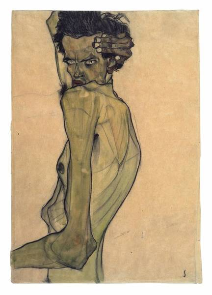 Painting - Self-portrait With Arm Twisted Above Head by Egon Schiele