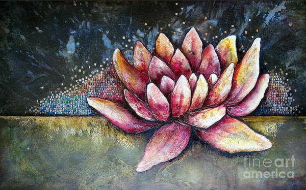 Wall Art - Painting - Self Portrait With Lotus by Shadia Derbyshire