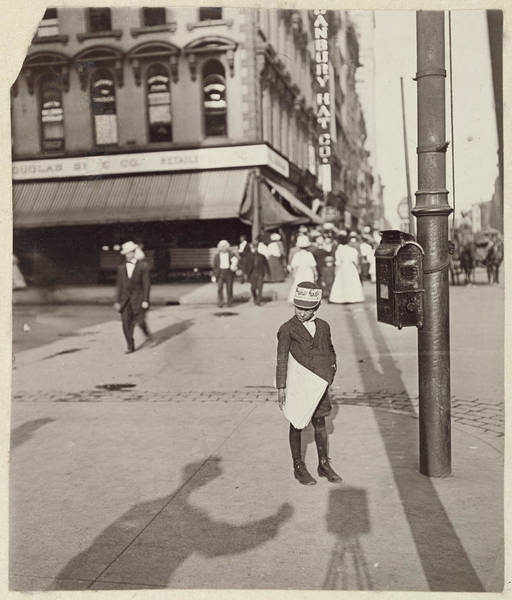 Wall Art - Drawing - Self-portrait With Newsboy Lewis W. Hine by Litz Collection