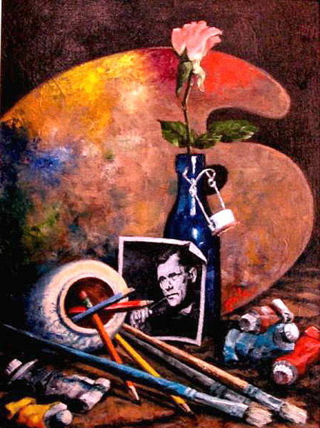 Wall Art - Painting - Self Portrait With Palette by Jim Gola